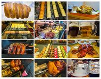 The collage about traditional Czech street food - trdelnik. Pork ribs, beer, veprevo knee stock images