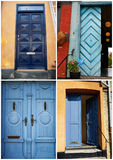 Collage of traditional front doors Denmark Royalty Free Stock Image
