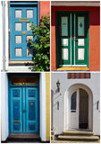 Collage of traditional front doors Denmark Stock Photos