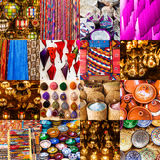 Collage of traditional Moroccan crafts Royalty Free Stock Image