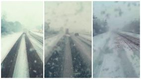 Collage of traffic driving along motorway A1M in Great Britain. During heavy snow storm. Recorded from dash camera stock video footage