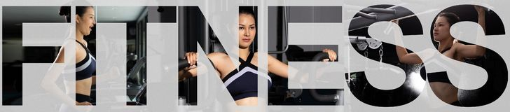 Collage training fitness, letters over group pack. Asian slim Fitness woman black hair sport bra exercise warm up on machine treadmill cycling bike weight push stock photography