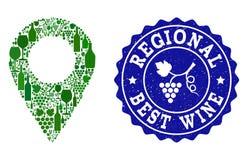 Collage Trauben-Wein-der lokalen Karten-Markierung und des besten Wein-Schmutz-Stempels lizenzfreie abbildung