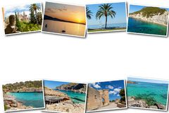 Collage travel Spain Palma de Mallorca. The collage from views of Palma de Mallorca, Spain. Collage travel Spain Palma de Mallorca on a white background Stock Images