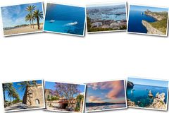 Collage travel Spain Palma de Mallorca. The collage from views of Palma de Mallorca, Spain. Collage travel Spain Palma de Mallorca on a white background Stock Photo