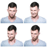 Collage of treacherous, crafty face expressions. On white background Royalty Free Stock Photography