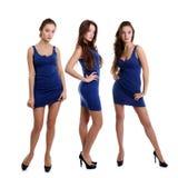 Collage tres mujeres jovenes en vestido azul imagenes de archivo