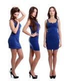 Collage tres mujeres jovenes en vestido azul fotografía de archivo