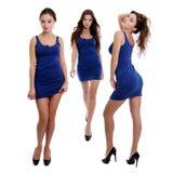Collage tres mujeres jovenes en vestido azul foto de archivo libre de regalías