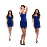 Collage tres mujeres jovenes en vestido azul imagen de archivo libre de regalías