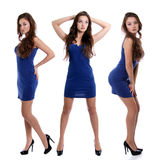 Collage tres mujeres jovenes en vestido azul fotos de archivo libres de regalías