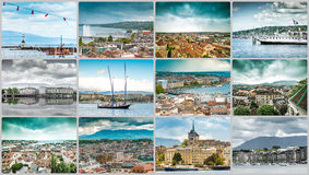 Collage of a trevel photos from Geneva Royalty Free Stock Images