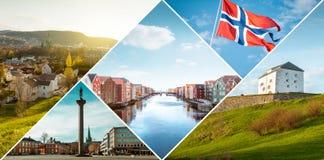 Collage of Trondheim city, Norway stock photo