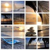 Collage tropical de la playa de la puesta del sol Foto de archivo