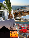 Collage of Tropical Greece islands images - travel background (my photos) stock photos