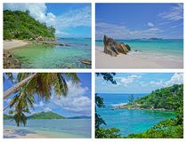 Collage of Tropical Landscapes, Seychelles. Indian Ocean Stock Image