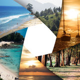 Collage of tropical seas with blank space Stock Images