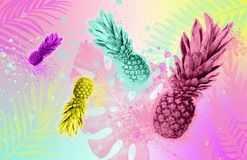 Collage tropical summer concept. Colored pineapples on a colored tropical background Zine style stock image