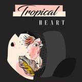 Collage tropicale creativo del pappagallo dell'estratto disegnato a mano di vettore con struttura organica a mano libera e cuore  Fotografie Stock