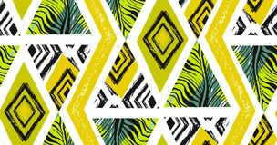 Collage tropicale senza cuciture strutturato a mano libera del modello dell'estratto disegnato a mano di vettore con il motivo de royalty illustrazione gratis