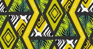 Collage tropicale senza cuciture strutturato a mano libera del modello dell'estratto disegnato a mano di vettore con il motivo de Fotografie Stock