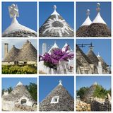 Collage of trulli houses, Apulia, Italy Royalty Free Stock Image