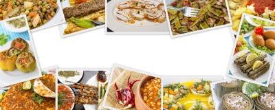 Collage turco differente delizioso tradizionale degli alimenti Menu ricco fotografia stock libera da diritti