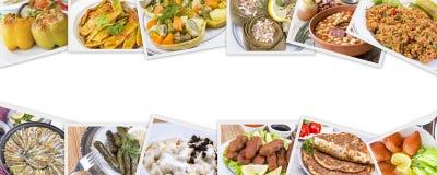 Collage turco differente delizioso tradizionale degli alimenti Menu ricco immagini stock
