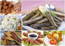 Collage turco differente delizioso tradizionale degli alimenti Menu ricco immagini stock libere da diritti