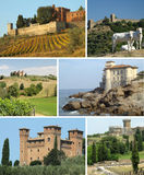 Collage with tuscan castles Stock Photo