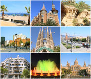 Collage- tutta la bellezza Barcellona. Immagine Stock