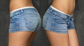 Collage två sexiga jeanskortslutningar Royaltyfria Bilder