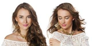 Collage två unga härliga haired kvinnor Royaltyfri Foto