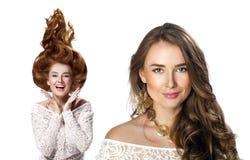 Collage två unga härliga haired kvinnor Royaltyfri Bild