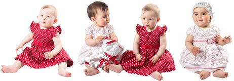 Collage of two adorable babies girls isolated on white background.. Stock Photos
