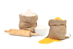 Collage of two bags with flour. Stock Photos