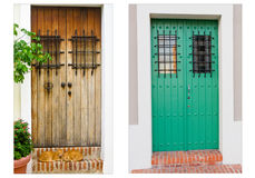 Collage of two doors in Old San Juan, Puerto Rico Stock Images