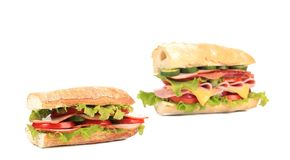 Collage of two fresh sandwiches. Stock Photography