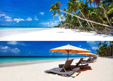 Collage of two horisontal images of white sandy tropical beach Royalty Free Stock Photo