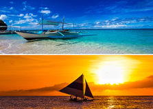 Collage of two images with sailboats and tropical sea Royalty Free Stock Images