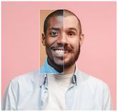 Collage from two images of smiling african and caucasian men stock photography