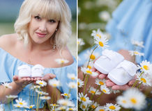 A collage of two photos of the expectant mother with the white booties Royalty Free Stock Image
