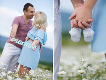 A collage of two photos of the expectant mother with the white booties Stock Image
