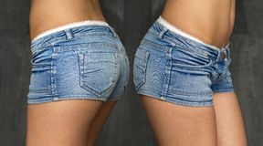 Collage two jeans shorts Royalty Free Stock Images