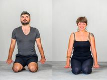 Collage of two: Yoga students showing different yoga poses stock photography