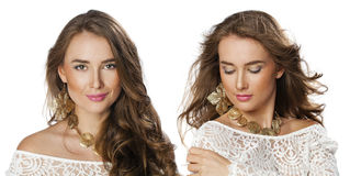 Collage, Two Young beautiful haired women Royalty Free Stock Photo