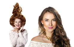 Collage, Two Young beautiful haired women Royalty Free Stock Image