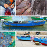 Collage - Typical fishing boat night in the little port Stock Photos