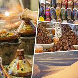 Collage of typical places in Morocco - my photos Stock Image