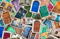 Typical vintage wooden doors collage Stock Photos
